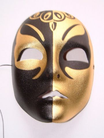 Black & Gold Full Face Metallic Mask (1)
